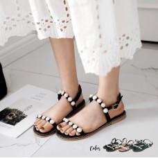 Rhinestone Pearl Flats Sandals
