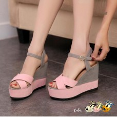 Duo Color Rome Strap Wedges