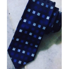 SQUARES ON BLACK NARROW LONG TIE