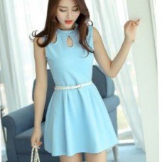 ROUND NECK BLUE DRESS