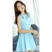 ROUND NECK BLUE DRESS