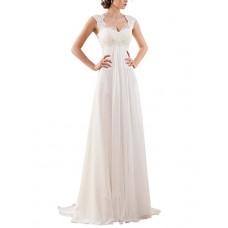 Empire Lace Chiffon Wedding Bridal Gown