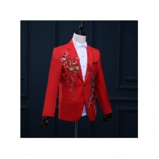 Red Embroidery Men Suit