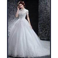 Stylish Short-Sleeve Wedding Dress